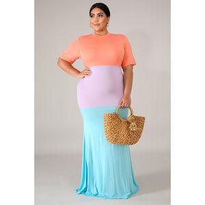 Dresses & Skirts - Plus Size Tri-Tone Colorblock Maxi Dress